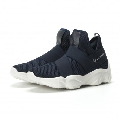 Slip- on ανδρικά μπλε αθλητικά παπούτσια με λάστιχα it250119-10 3