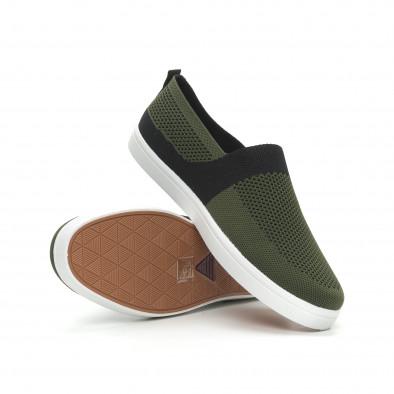 Ανδρικά πράσινα πλεκτά sneakers με μαύρες λεπτομέρειες it150319-19 4