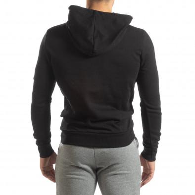 Ανδρικό μαύρο φούτερ Basic με τσέπη καγκουρό it150419-44 4