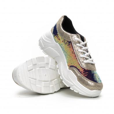 Γυναικεία μπεζ Chunky αθλητικά παπούτσια με παγιέτες it240419-59 4