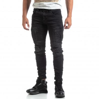 Ανδρικό μαύρο Cargo Jeans σε ροκ στυλ it170819-53 3