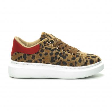 Γυναικεία λεοπάρ sneakers με κόκκινη λεπτομέρεια it150319-46 2