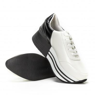 Γυναικεία ασπρόμαυρα sneakers με πλατφόρμα it150818-72 4