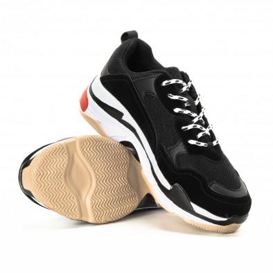 Ανδρικά αθλητικά παπούτσια σε μαύρο και κόκκινο με χοντρή σόλα it221018-41 4
