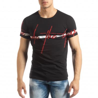 Ανδρική μαύρη κοντομάνικη μπλούζα με πριντ it150419-103 2