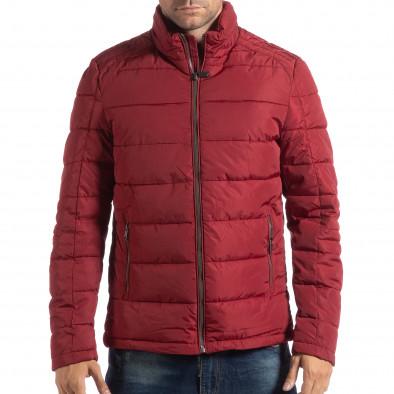 Ανδρικό κόκκινο χειμωνιάτικο μπουφάν με επένδυση και γιακά μοα it250918-84 3