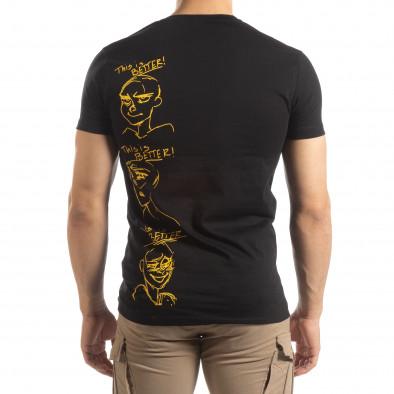 Ανδρική μαύρη κοντομάνικη μπλούζα με πριντ it150419-55 3