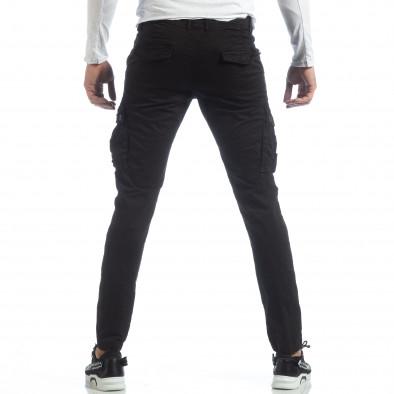 Ανδρικό μαύρο παντελόνι με cargo τσέπες it040219-40 3