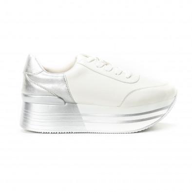 Γυναικεία λευκά sneakers με πλατφόρμα και ασημί λεπτομέρειες it150818-70 2  ... 16ec1510c9a
