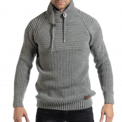 4c7ae9a85fe Ανδρικό γκρι μελάνζ πουλόβερ με ψηλό γιακά