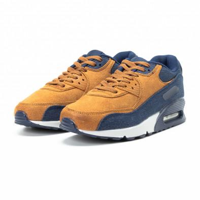 Ανδρικά μπλε και camel αθλητικά παπούτσια Air από συνδυασμό υφασμάτων it140918-31 3