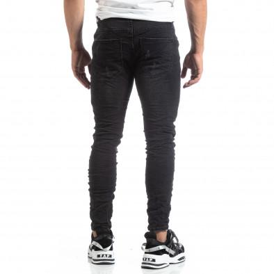 Slim fit ανδρικό μαύρο τζιν με διακοσμήσεις  it170819-50 5