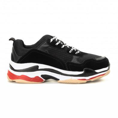 Ανδρικά αθλητικά παπούτσια σε μαύρο και κόκκινο με χοντρή σόλα it221018-41 2