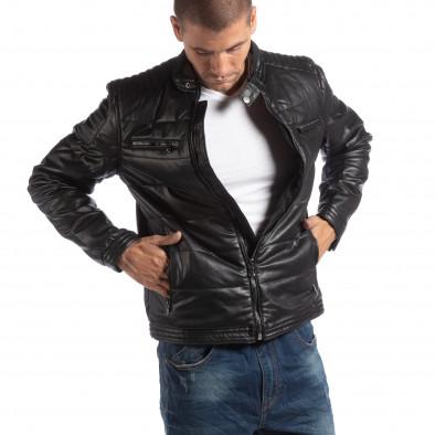Ανδρικό μαύρο μπουφάν από συνθετικό δέρμα με γιακά μοα it250918-89 2