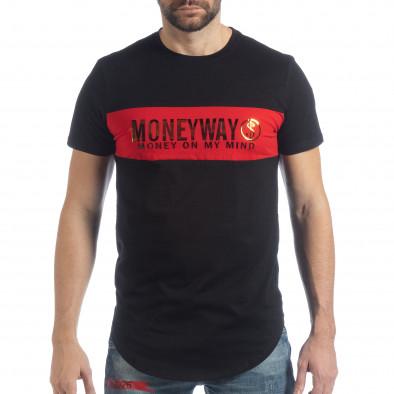 Ανδρική μαύρη κοντομάνικη μπλούζα Money Way it040219-117 3