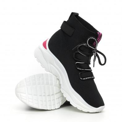 Γυναικεία μαύρα αθλητικά παπούτσια με ροζ λεπτομέρεια it130819-42 4