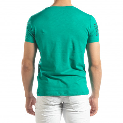 Ανδρική πράσινη κοντομάνικη μπλούζα με πριντ Watch it150419-100 3