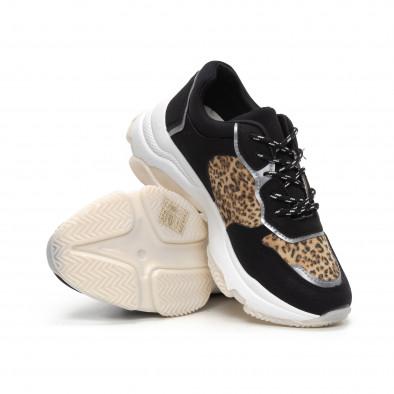 Γυναικεία Chunky αθλητικά παπούτσια σε μαύρο και λεοπάρ it240419-42 4