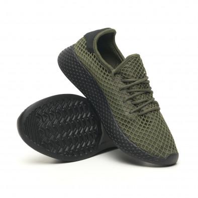 Ανδρικά πράσινα αθλητικά παπούτσια Mesh με μαύρη φτέρνα it251019-1 5