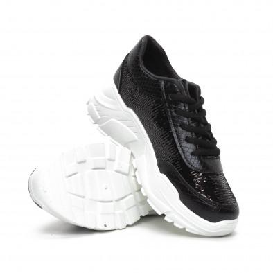 Γυναικεία μαύρα Chunky αθλητικά παπούτσια με παγιέτες it240419-58 4
