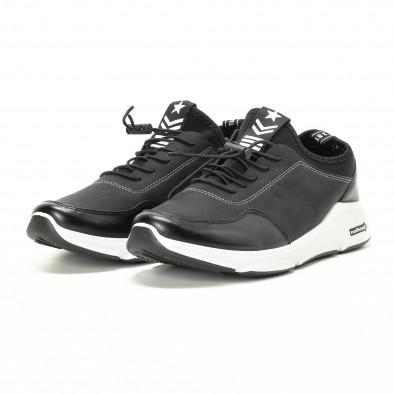 Ανδρικά μαύρα αθλητικά παπούτσια από συνδυασμό υφασμάτων it221018-34 3