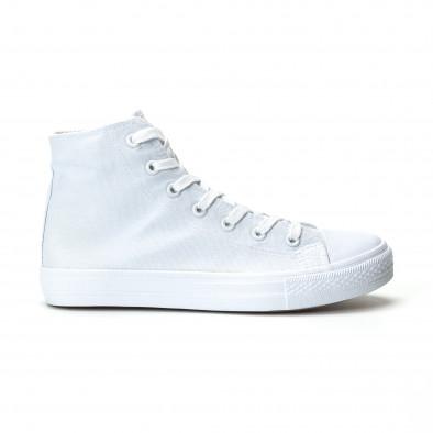 Ανδρικά λευκά ψηλά sneakers κλασικό μοντέλο it250119-3 2