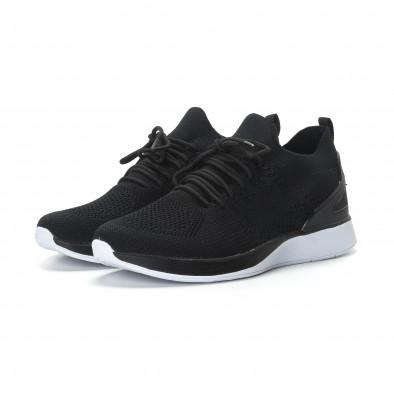 Ανδρικά μαύρα πλεκτά αθλητικά παπούτσια  it190219-2 3
