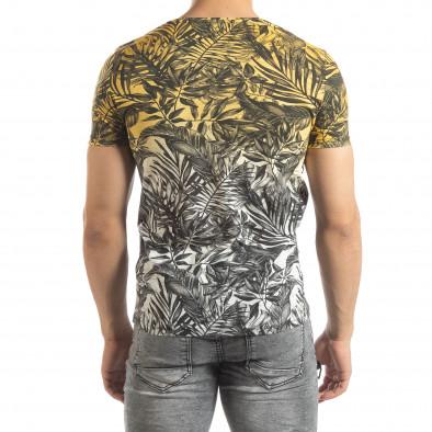 Ανδρική κίτρινη κοντομάνικη μπλούζα Leaves μοτίβο it150419-107 3