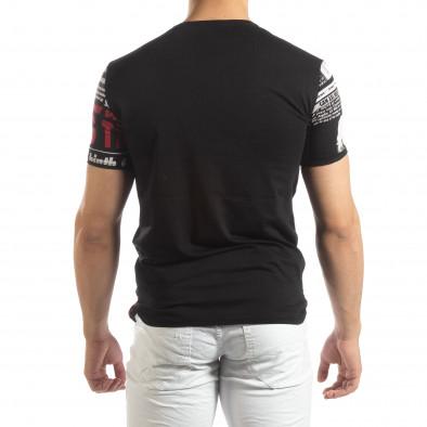 Ανδρική μαύρη κοντομάνικη μπλούζα Exclusive News it150419-87 3