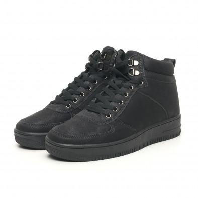 Ανδρικά ψηλά μαύρα sneakers τύπου μποτάκια it251019-18 4