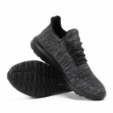 Ανδρικά μαύρα μελάνζ αθλητικά παπούτσια  it140918-19 4