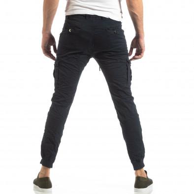 Ανδρικό σκούρο μπλε παντελόνι cargo με κορδόνια it210319-21 4