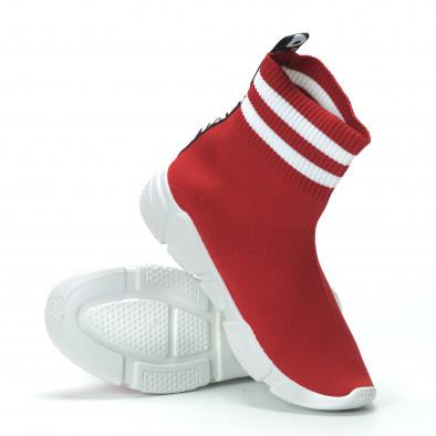 Γυναικεία κόκκινα ψηλά sneakers καλτσάκι it250119-58 6