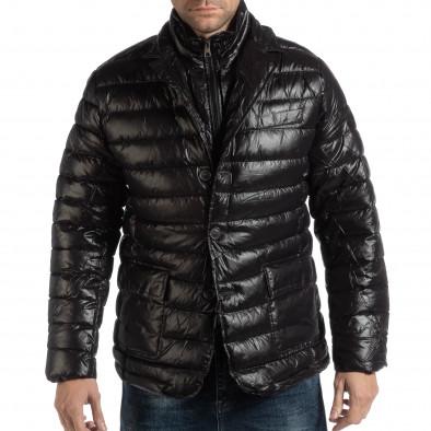 Ανδρικό μαύρο χειμωνιάτικο μπουφάν τύπου μπλέιζερ it261018-130 3