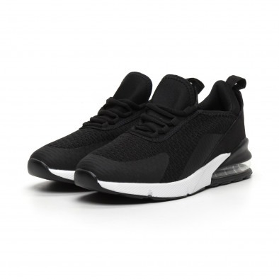 Ανδρικά μαύρα πάνινα αθλητικά παπούτσια με αερόσολα it260919-31 3