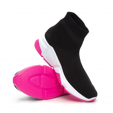 Γυναικεία μαύρα αθλητικά παπούτσια καλτσάκι με Chunky σόλα it240419-57 4
