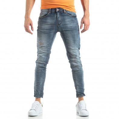 Ανδρικό γαλάζιο τζιν Washed Slim Jeans it210319-9 3