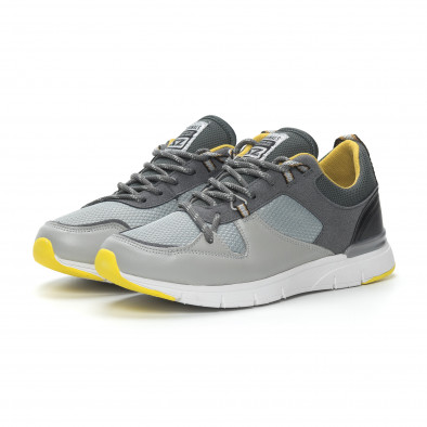 Ανδρικά γκρι αθλητικά παπούτσια με κίτρινες λεπτομέρειες it150319-28 4