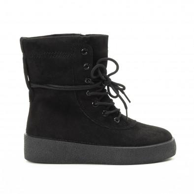 Basic γυναικεία ψηλά μαύρα sneakers   it221018-46 2