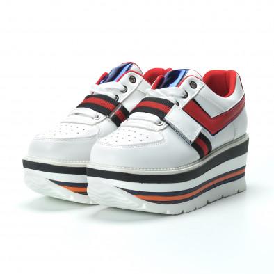Γυναικεία λευκά sneakers με πλατφόρμα και πολύχρωμες διακοσμήσεις it250119-66 4