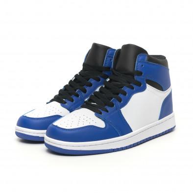 Ανδρικά ψηλά μπλε-λευκά sneakers  it251019-21 4