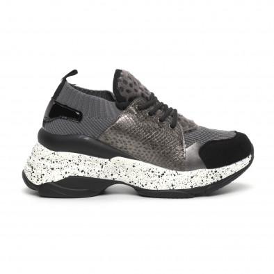 Γυναικεία γκρι αθλητικά παπούτσια Patchwork design it260919-81 2