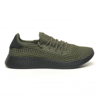 Ανδρικά πράσινα αθλητικά παπούτσια Mesh με μαύρη φτέρνα it251019-1 2