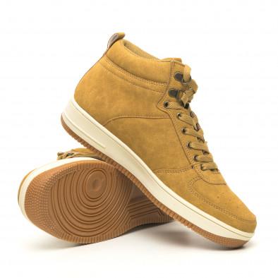 Ανδρικά ψηλά camel sneakers τύπου μποτάκια it251019-19 5
