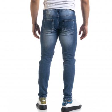 Slim fit ανδρικό μπλε τζιν με ςταγόνες χρωμά it110320-6 3