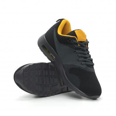 Ανδρικά μαύρα αθλητικά παπούτσια Kiss με αερόσολα it150319-9 4