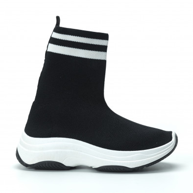 Γυναικεία μαύρα ψηλά sneakers καλτσάκι it250119-61 3