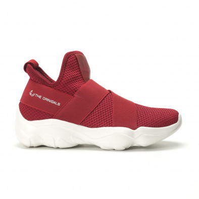 Slip- on ανδρικά κόκκινα αθλητικά παπούτσια με λάστιχα it250119-9 2