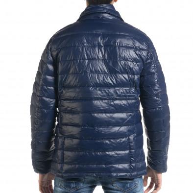Ανδρικό μπλέ χειμωνιάτικο μπουφάν τύπου blazer it091219-16 4