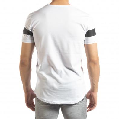 Ανδρική λευκή κοντομάνικη μπλούζα μακρύ μοντέλο it150419-93 3